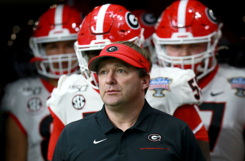 Head coach Kirby Smart of the Georgia Bulldogs (Photo by Sean Gardner/Getty Images)
