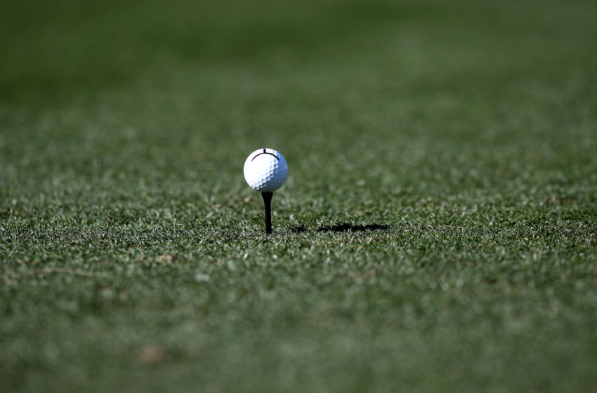 LA QUINTA, CALIFORNIA - JANUARY 18: A detail view of Beau Hossler's ball before teeing off on the third hole during the third round of The American Express tournament at the Stadium Course at PGA West on January 18, 2020 in La Quinta, California. (Photo by Marianna Massey/Getty Images)