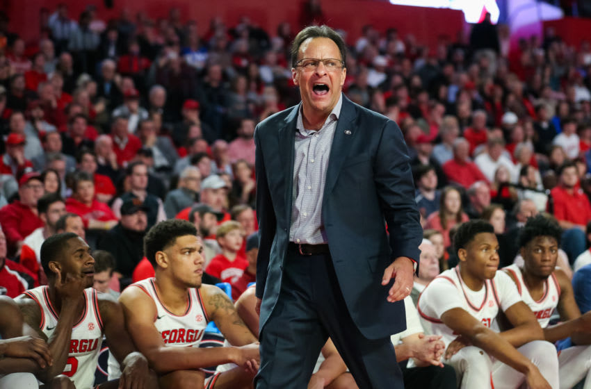 ATHENS, GA - JANUARY 7: Head coach Tom Crean of the Georgia Bulldogs reacts during a game against the Kentucky Wildcats at Stegeman Coliseum on January 7, 2020 in Athens, Georgia. (Photo by Carmen Mandato/Getty Images)