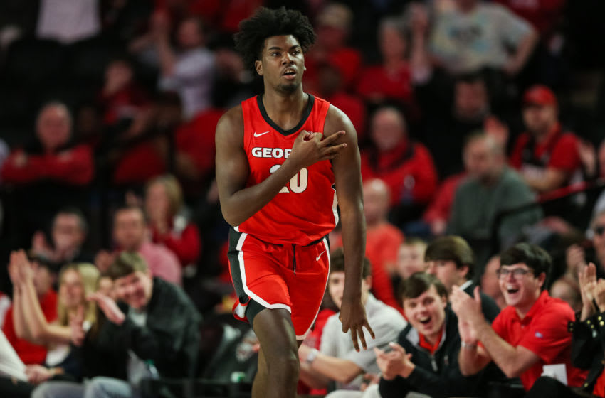 ATHENS, GA - FEBRUARY 19: Rayshaun Hammonds #20 of the Georgia Bulldogs reacts during a game against the Auburn Tigers at Stegeman Coliseum on February 19, 2020 in Athens, Georgia. (Photo by Carmen Mandato/Getty Images)