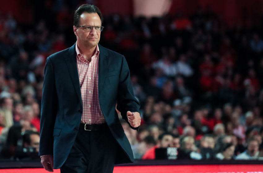 ATHENS, GA - FEBRUARY 19: Head Coach Tom Crean of the Georgia Bulldogs looks on during a game against the Auburn Tigers at Stegeman Coliseum on February 19, 2020 in Athens, Georgia. (Photo by Carmen Mandato/Getty Images)