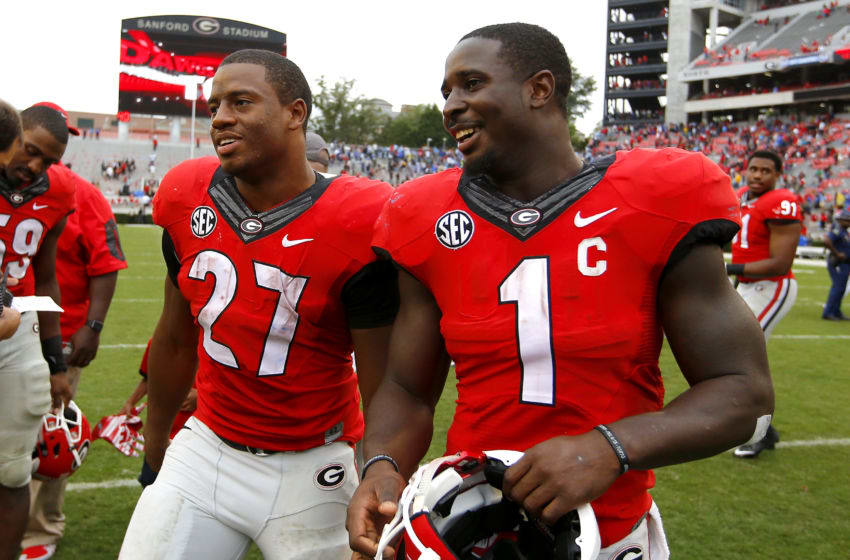 Sony Michel and Nick Chubb (Photo by Todd Kirkland/Getty Images)