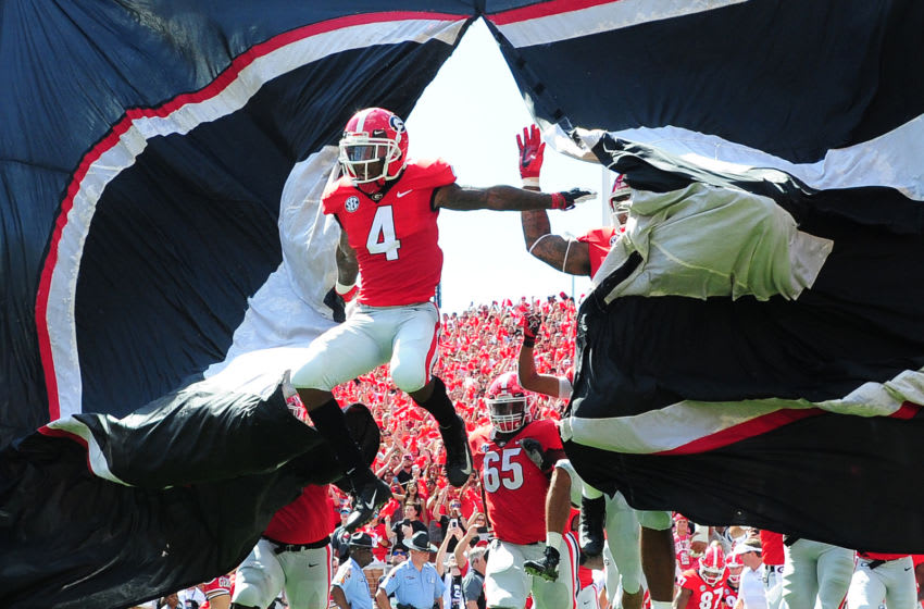 ATHENS, GA - SEPTEMBER 1: Mecole Hardman #4 of the Georgia Bulldogs (Photo by Scott Cunningham/Getty Images)
