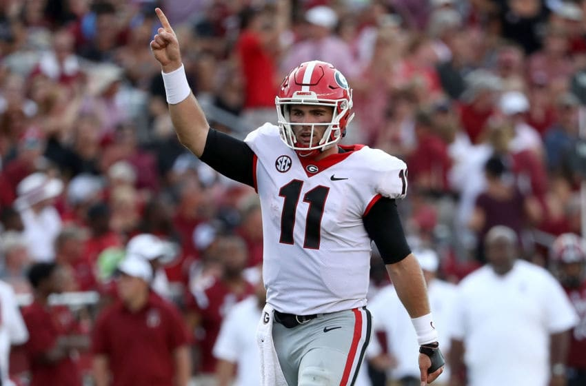 COLUMBIA, SC - SEPTEMBER 08: Jake Fromm #11 of the Georgia Bulldogs reacts after a touchdown against the South Carolina Gamecocks during their game at Williams-Brice Stadium on September 8, 2018 in Columbia, South Carolina. (Photo by Streeter Lecka/Getty Images)