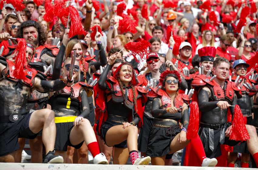 ATHENS, GA - OCTOBER 02: Georgia Bulldogs fans cheer on the team in the second half against the Arkansas Razorbacks at Sanford Stadium on October 2, 2021 in Athens, Georgia. (Photo by Todd Kirkland/Getty Images)