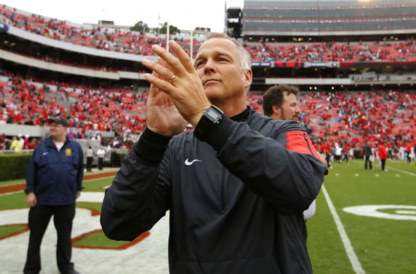 ATHENS, GA - SEPTEMBER 26: Georgia Bulldogs head coach Mark Richt celebrates at the conclusion of the game against the Southern University Jaguars on September 26, 2015 at Sanford Stadium in Athens, Georgia. The Georgia Bulldogs won 48-6. (Photo by Todd Kirkland/Getty Images)