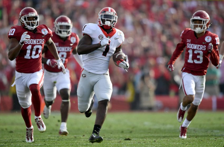 PASADENA, CA - JANUARY 01: Running back Sony Michel #1 of the Georgia Bulldogs scores a 75-yard touchdown run in the first half against the Oklahoma Sooners in the 2018 College Football Playoff Semifinal at the Rose Bowl Game presented by Northwestern Mutual at the Rose Bowl on January 1, 2018 in Pasadena, California. (Photo by Kevork Djansezian/Getty Images)