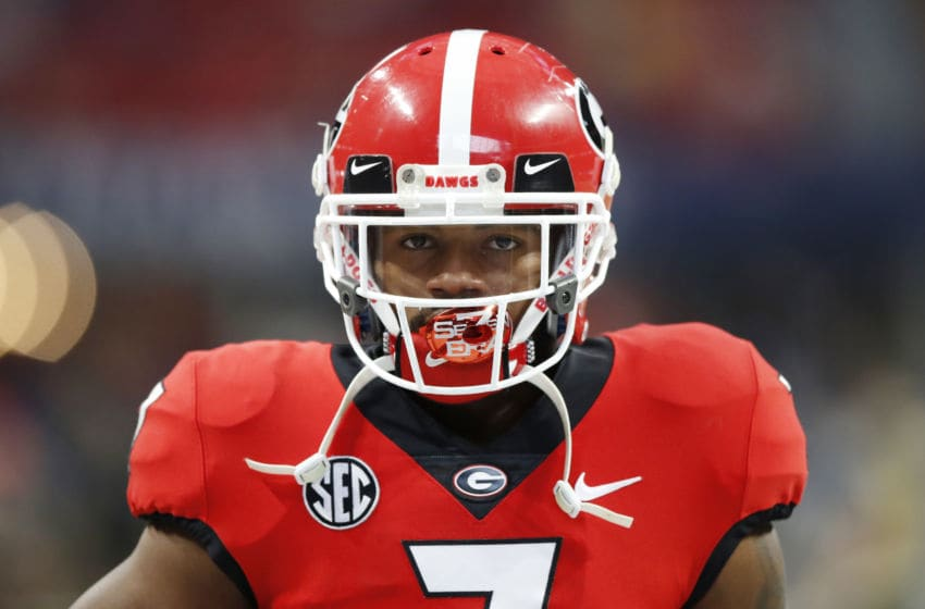 ATLANTA, GEORGIA - DECEMBER 07: D'Andre Swift #7 of the Georgia Bulldogs looks on before the SEC Championship game against the LSU Tigers at Mercedes-Benz Stadium on December 07, 2019 in Atlanta, Georgia. (Photo by Todd Kirkland/Getty Images)