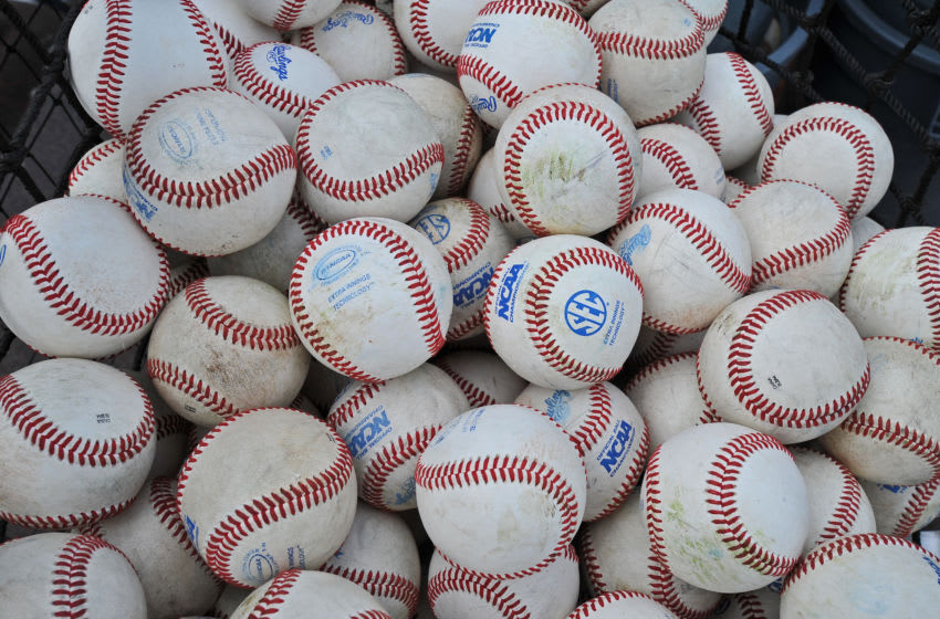 OMAHA, NE - JUNE 23: A general view of baseballs before game one of the College World Series Championship between the Vanderbilt Commodores and the Virginia Cavaliers on June 23, 2014 at TD Ameritrade Park in Omaha, Nebraska. (Photo by Peter Aiken/Getty Images)