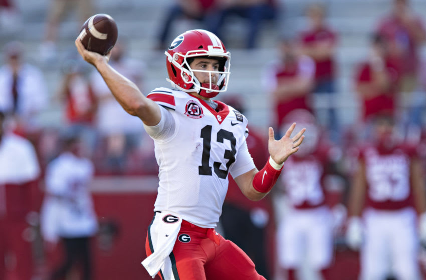 Stetson Bennett #13 of the Georgia Bulldogs (Photo by Wesley Hitt/Getty Images)