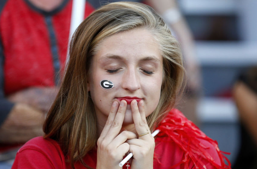 Georgia Bulldogs fans react during the second half of a ga (Photo by Jonathan Bachman/Getty Images)
