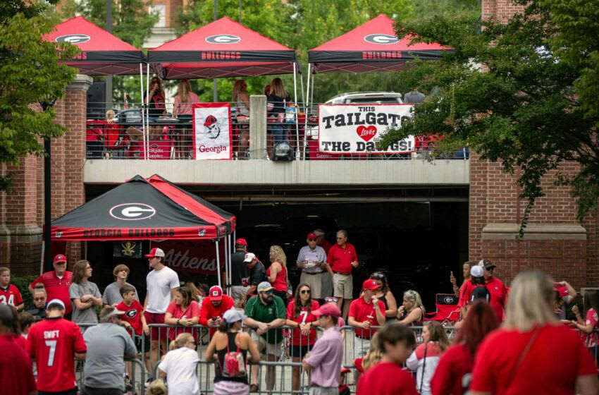 Georgia fans gather for the Dawg Walk before kickoff of an NCAA college football game between UAB and Georgia in Athens, Ga., on Sept. 11, 2021. News Kayla Renie