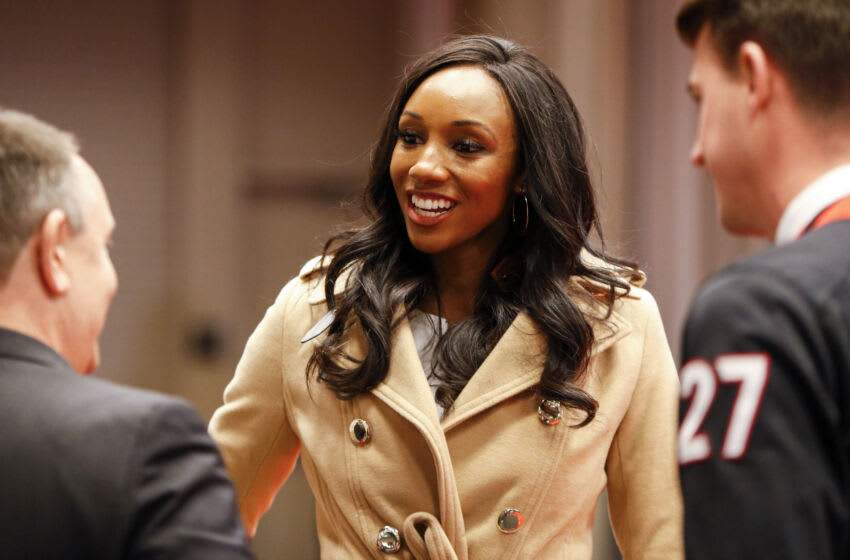 ESPN reporter Maria Taylor in the Hyatt Hotel after the arrival of the Georgia Bulldogs. Mandatory Credit: Brett Davis-USA TODAY Sports