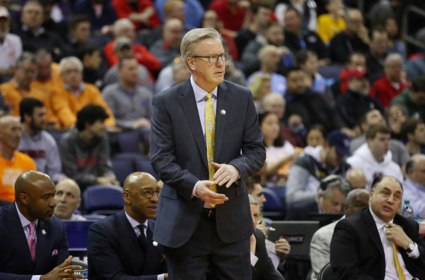 COLUMBUS, OHIO - MARCH 22: Head coach Fran McCaffery of the Iowa Hawkeyes reacts during the second half against the Cincinnati Bearcats in the first round of the 2019 NCAA Men's Basketball Tournament at Nationwide Arena on March 22, 2019 in Columbus, Ohio. (Photo by Gregory Shamus/Getty Images)
