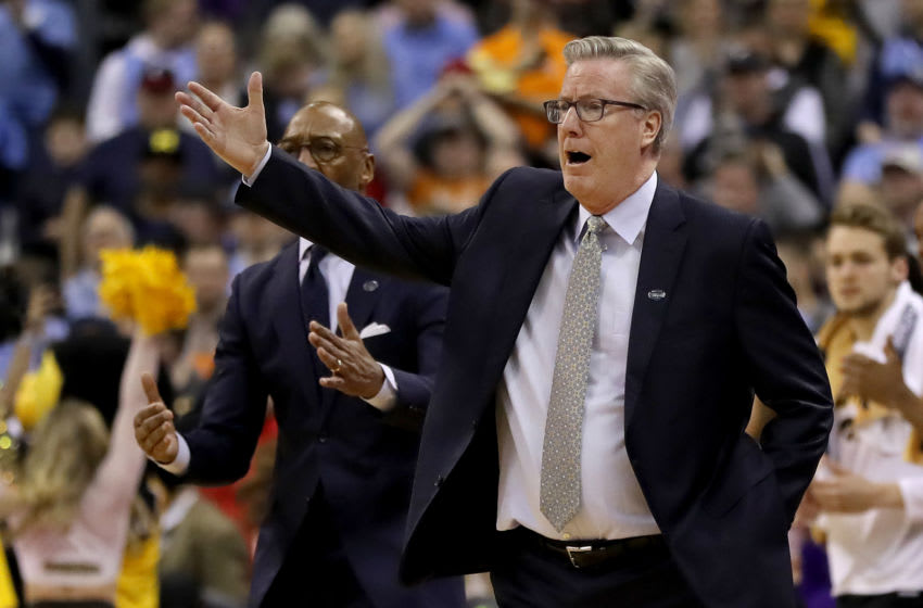 COLUMBUS, OHIO - MARCH 24: Head coach Fran McCaffery of the Iowa Hawkeyes looks on during their game against the Tennessee Volunteers in the Second Round of the NCAA Basketball Tournament at Nationwide Arena on March 24, 2019 in Columbus, Ohio. (Photo by Elsa/Getty Images)