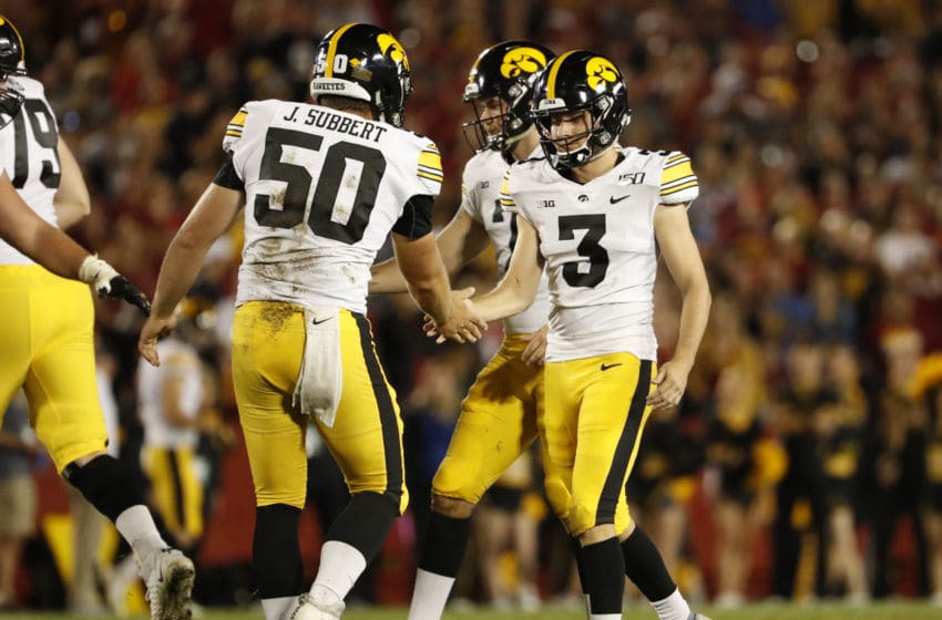 AMES, IA - SEPTEMBER 14: Place kicker Keith Duncan #3 of the Iowa Hawkeyes celebrates with teammate long snapper Jackson Subbert #50 of the Iowa Hawkeyes after kicking a field goal in the second half of play at Jack Trice Stadium on September 14, 2019 in Ames, Iowa. The Iowa Hawkeyes won 18-17 over the Iowa State Cyclones. (Photo by David Purdy/Getty Images)