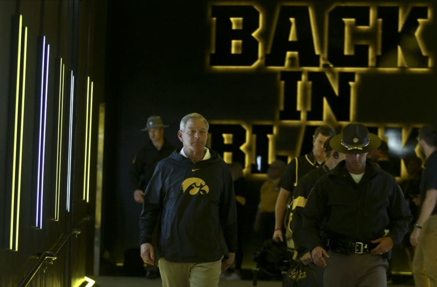 IOWA CITY, IOWA - AUGUST 31: Head coach Kirk Ferentz of the Iowa Hawkeyes takes the field before the match-up against the Miami Ohio RedHawks on August 31, 2019 at Kinnick Stadium in Iowa City, Iowa. (Photo by Matthew Holst/Getty Images)