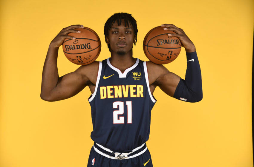 DENVER, CO - SEPTEMBER 30: Tyler Cook #21 of the Denver Nuggets poses for a portrait during the Denver Nuggets Media Day at Pepsi Center on September 30, 2019 in Denver, Colorado. NOTE TO USER: User expressly acknowledges and agrees that, by downloading and/or using this photograph, user is consenting to the terms and conditions of the Getty Images License Agreement. (Photo by Justin Tafoya/Getty Images)