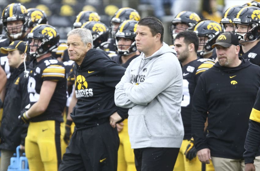 IOWA CITY, IOWA- OCTOBER 19: Head coach Kirk Ferentz and offensive coordinator Brian Ferentz of the Iowa Hawkeyes before the match-up against the Purdue Boilermakers on October 19, 2019 at Kinnick Stadium in Iowa City, Iowa. (Photo by Matthew Holst/Getty Images)