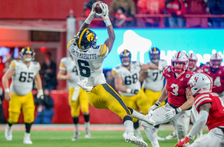 LINCOLN, NE - NOVEMBER 29: Wide receiver Ihmir Smith-Marsette #6 of the Iowa Hawkeyes makes a catch against the Nebraska Cornhuskers at Memorial Stadium on November 29, 2019 in Lincoln, Nebraska. (Photo by Steven Branscombe/Getty Images)