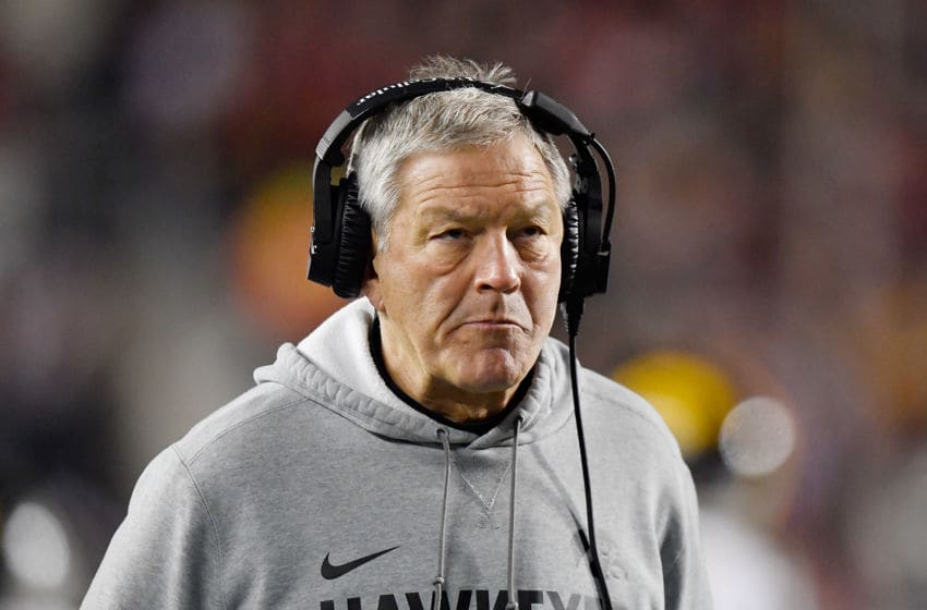 MADISON, WISCONSIN - NOVEMBER 09: Head coach Kirk Ferentz of the Iowa Hawkeyes looks on in the second half against the Wisconsin Badgers at Camp Randall Stadium on November 09, 2019 in Madison, Wisconsin. (Photo by Quinn Harris/Getty Images)