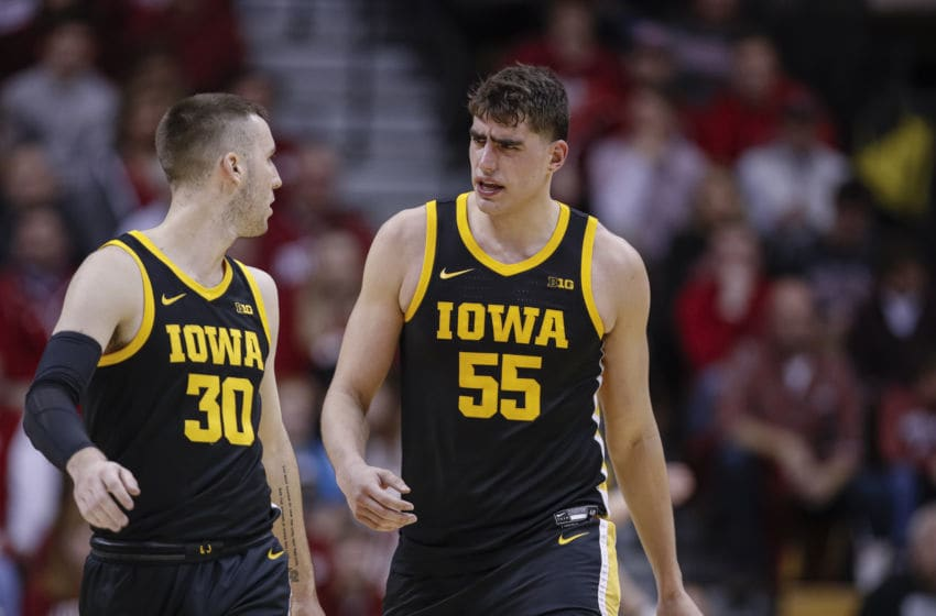 BLOOMINGTON, IN - FEBRUARY 13: Connor McCaffery #30 and Luka Garza #55 of the Iowa Hawkeyes are seen during the game against the Indiana Hoosiers at Assembly Hall on February 13, 2020 in Bloomington, Indiana. (Photo by Michael Hickey/Getty Images)