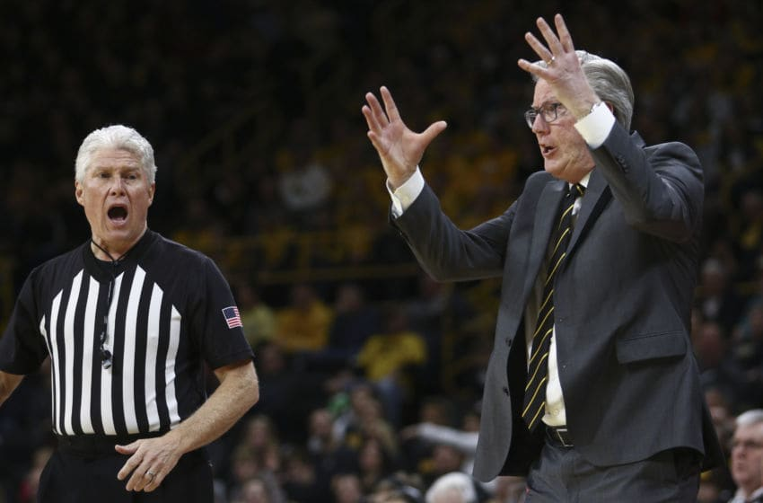 IOWA CITY, IOWA- FEBRUARY 8: Head coach Fran McCaffery of the Iowa Hawkeyes yells at an official in the first half against the Nebraska Cornhuskers, at Carver-Hawkeye Arena on February 8, 2020 in Iowa City, Iowa. (Photo by Matthew Holst/Getty Images)
