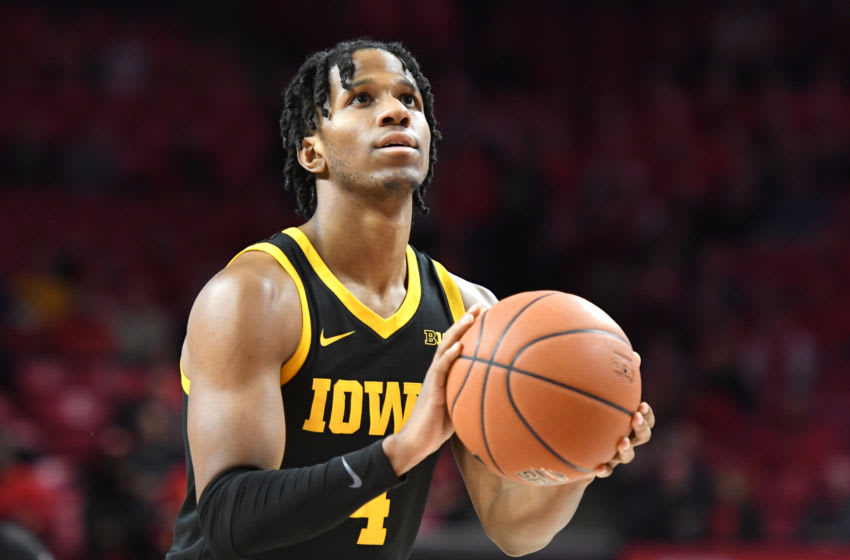 COLLEGE PARK, MARYLAND - JANUARY 30: Bakari Evelyn #4 of the Iowa Hawkeyes takes a foul shot during a college basketball game against the Maryland Terrapins at Xfinity Center on January 30, 2020 in College Park, Maryland. (Photo by Mitchell Layton/Getty Images)