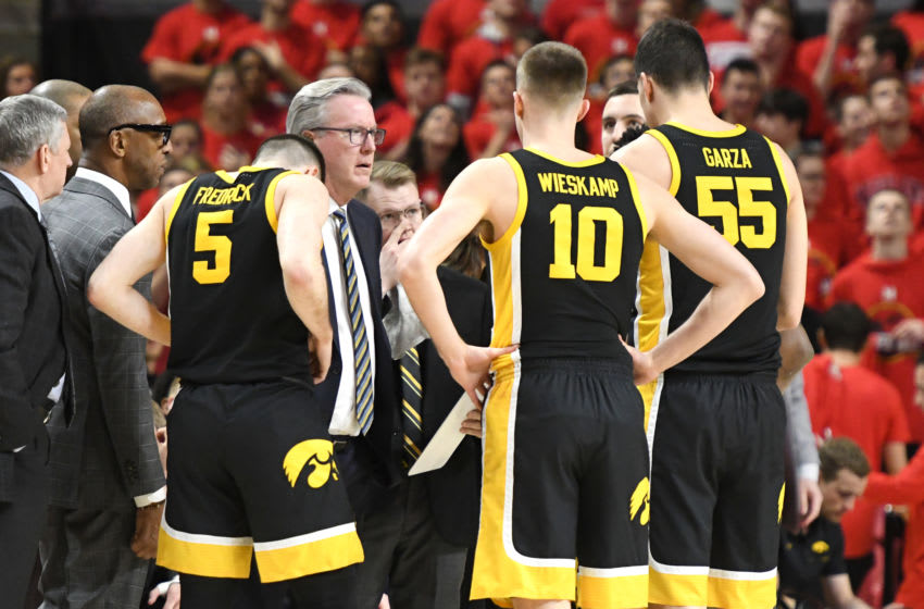 COLLEGE PARK, MARYLAND - JANUARY 30: Head coach Fran McCaffery of the Iowa Hawkeyes talks to his players during a college basketball game against the Maryland Terrapins at Xfinity Center on January 30, 2020 in College Park, Maryland. (Photo by Mitchell Layton/Getty Images)