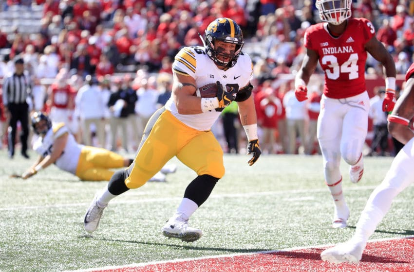 BLOOMINGTON, IN - OCTOBER 13: Tommy Kujawa #46 of the Iowa Hawkeyes runs for a touchdown against the Indiana Hossiers at Memorial Stadium on October 13, 2018 in Bloomington, Indiana. (Photo by Andy Lyons/Getty Images)