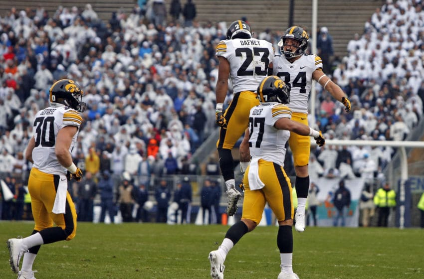 STATE COLLEGE, PA - OCTOBER 27: Dominique Dafney #23 of the Iowa Hawkeyes celebrates after blocking a punt against the Penn State Nittany Lions on October 27, 2018 at Beaver Stadium in State College, Pennsylvania. (Photo by Justin K. Aller/Getty Images)