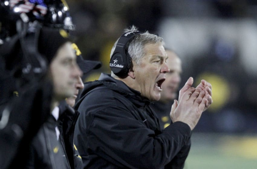 IOWA CITY, IOWA- NOVEMBER 10: Head coach Kirk Ferentz the Iowa Hawkeyes yells from the sideline during the second half against the Northwestern Wildcats on November 10, 2018 at Kinnick Stadium, in Iowa City, Iowa. (Photo by Matthew Holst/Getty Images)