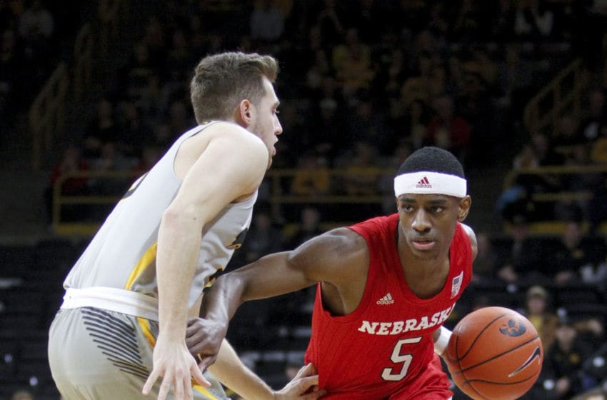 IOWA CITY, IOWA- JANUARY 6: Guard Glynn Watson #5 of the Nebraska Cornhusker drives down the court in the first half against guard Jordan Bohannon #3 of the Iowa Hawkeyes on January 6, 2019 at Carver-Hawkeye Arena, in Iowa City, Iowa. (Photo by Matthew Holst/Getty Images)