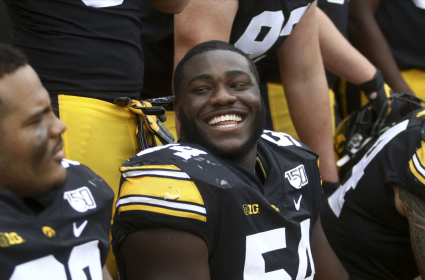 IOWA CITY, IOWA- SEPTEMBER 28: Defensive tackle Daviyon Nixon #54 of the Iowa Hawkeyes during the second half of the match-up against the Middle Tennessee Blue Raiders on September 28, 2019 at Kinnick Stadium in Iowa City, Iowa. (Photo by Matthew Holst/Getty Images)