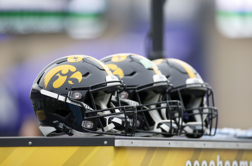 EVANSTON, ILLINOIS - OCTOBER 26: The Iowa Hawkeyes helmets on the sidelines in the game against the Northwestern Wildcats at Ryan Field on October 26, 2019 in Evanston, Illinois. (Photo by Justin Casterline/Getty Images)