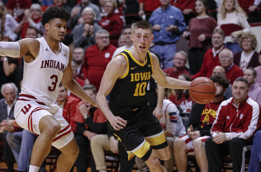 BLOOMINGTON, IN - FEBRUARY 13: Joe Wieskamp #10 of the Iowa Hawkeyes drives to the basket during the game against the Indiana Hoosiers at Assembly Hall on February 13, 2020 in Bloomington, Indiana. (Photo by Michael Hickey/Getty Images)