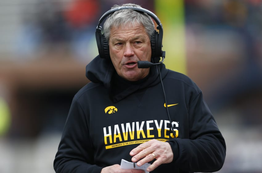 CHAMPAIGN, IL - NOVEMBER 19: Head coach Kirk Ferentz of the Iowa Hawkeyes is seen during the game against the Illinois Fighting Illini at Memorial Stadium on November 19, 2016 in Champaign, Illinois. (Photo by Michael Hickey/Getty Images)