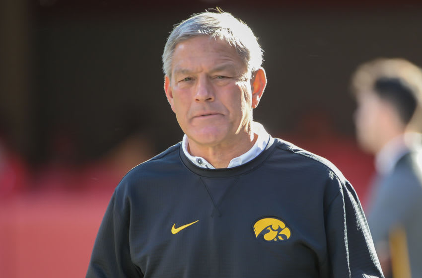 LINCOLN, NE - NOVEMBER 24: Head coach Kirk Ferentz of the Iowa Hawkeyes watches action before the game against the Nebraska Cornhuskers at Memorial Stadium on November 24, 2017 in Lincoln, Nebraska. (Photo by Steven Branscombe/Getty Images)