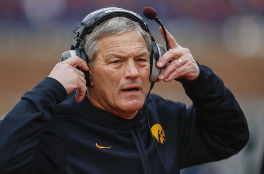 CHAMPAIGN, IL - NOVEMBER 15: Head coach Kirk Ferentz of the Iowa Hawkeyes is seen on the sidelines during the game against the Illinois Fighting Illini at Memorial Stadium on November 15, 2014 in Champaign, Illinois. (Photo by Michael Hickey/Getty Images)