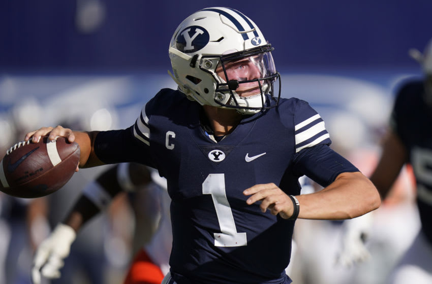 Oct 10, 2020; Provo, UT, USA; BYU quarterback Zach Wilson (1) throws downfield against UTSA in the second half during an NCAA college football game Saturday, Oct. 10, 2020, in Provo, Utah. Mandatory Credit: Rick Bowmer/Pool Photo-USA TODAY Sports