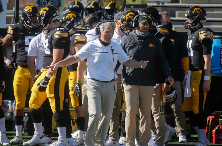 Iowa head football coach Kirk Ferentz lashes out at game officials following a call in the second quarter against Michigan State at Kinnick Stadium in Iowa City on Saturday, Nov. 7, 2020. 20201107 Hawkeyesvsmsu