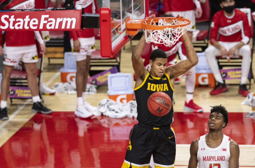 Jan 7, 2021; College Park, Maryland, USA; Iowa Hawkeyes forward Keegan Murray (15) dunks during the first half against the Maryland Terrapins at Xfinity Center. Mandatory Credit: Tommy Gilligan-USA TODAY Sports