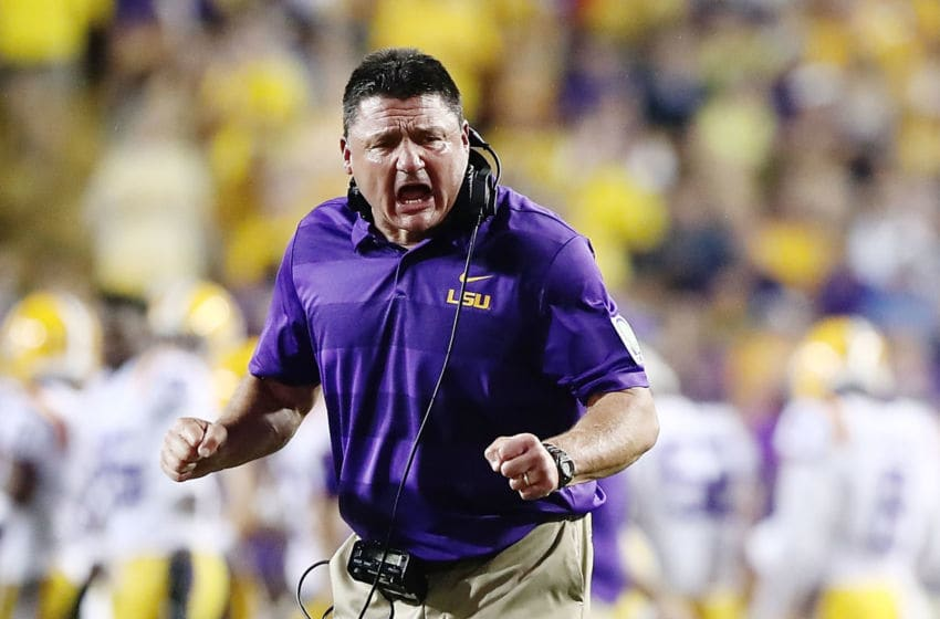 BATON ROUGE, LA - SEPTEMBER 29: Head coach Ed Orgeron of the LSU Tigers reacts during a game against the Mississippi Rebels at Tiger Stadium on September 29, 2018 in Baton Rouge, Louisiana. (Photo by Marianna Massey/Getty Images)