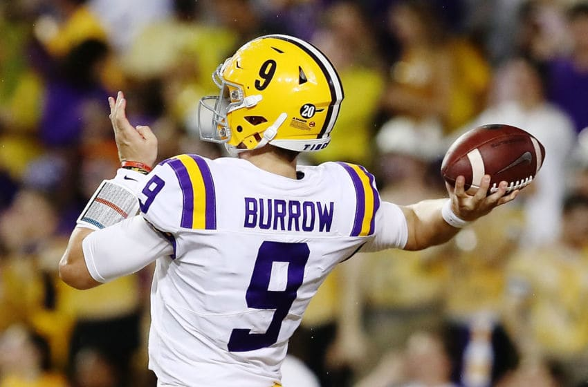 BATON ROUGE, LA - SEPTEMBER 29: Quarterback Joe Burrow #9 of the LSU Tigers throws the ball during the game against the Mississippi Rebels at Tiger Stadium on September 29, 2018 in Baton Rouge, Louisiana. (Photo by Marianna Massey/Getty Images)