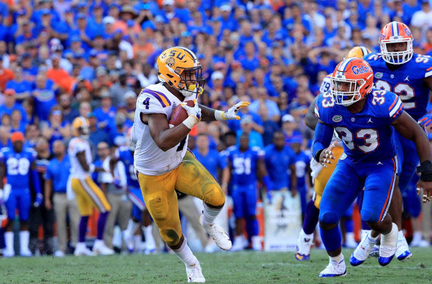 GAINESVILLE, FL - OCTOBER 06: Nick Brossette #4 of the LSU Tigers runs for yardage during the game against the Florida Gators at Ben Hill Griffin Stadium on October 6, 2018 in Gainesville, Florida. (Photo by Sam Greenwood/Getty Images)