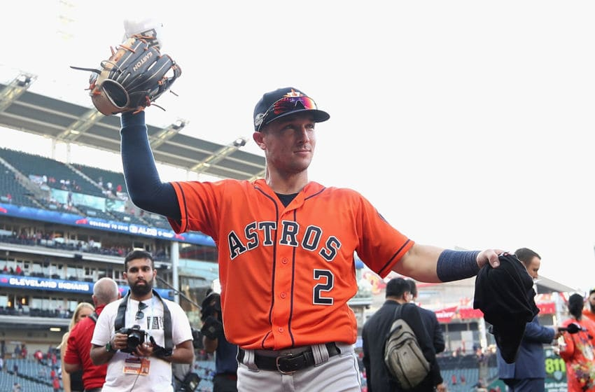 CLEVELAND, OH - OCTOBER 08: Alex Bregman #2 of the Houston Astros celebrates defeating the Cleveland Indians 11-3 in Game Three of the American League Division Series to advance to the American League Championship Series at Progressive Field on October 8, 2018 in Cleveland, Ohio. (Photo by Gregory Shamus/Getty Images)