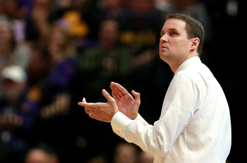BATON ROUGE , LOUISIANA - FEBRUARY 26: Head coach Will Wade of the LSU Tigers looks on as his team takes on the Texas A&M Aggies at Pete Maravich Assembly Center on February 26, 2019 in Baton Rouge, Louisiana. (Photo by Sean Gardner/Getty Images)