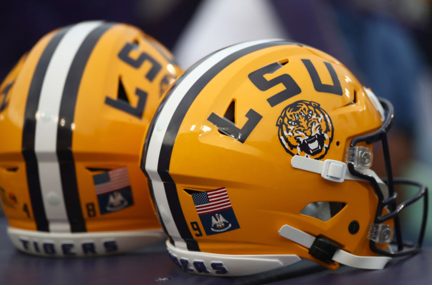 BATON ROUGE, LOUISIANA - OCTOBER 12: LSU helmets are seen on the field prior to the game against the Florida Gators at Tiger Stadium on October 12, 2019 in Baton Rouge, Louisiana. (Photo by Marianna Massey/Getty Images)