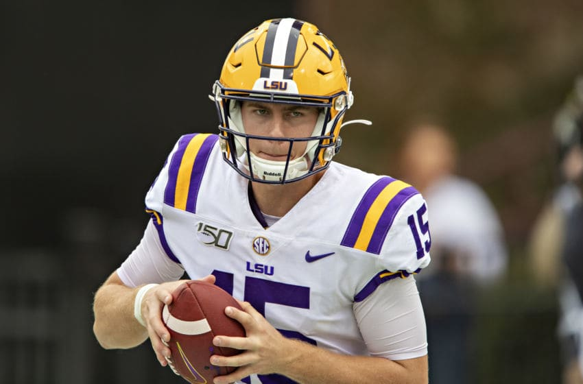 STARKVILLE, MS - OCTOBER 19: Myles Brennan #15 of the LSU Tigers warms up before a game against the Mississippi State Bulldogs at Davis Wade Stadium on October 19, 2019 in Starkville, Mississippi. The Tigers defeated the Bulldogs 36-13. (Photo by Wesley Hitt/Getty Images)