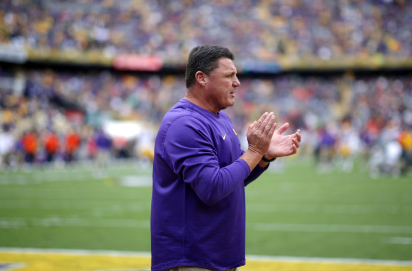 BATON ROUGE, LOUISIANA - OCTOBER 26: Head coach Ed Orgeron of the LSU Tigers looks on prior to the game against the Auburn Tigers at Tiger Stadium on October 26, 2019 in Baton Rouge, Louisiana. (Photo by Chris Graythen/Getty Images)